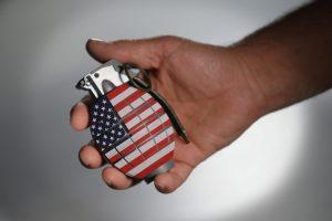Hand grenade with USA flag