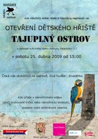 plakát: otevření dětského hřiště Tajuplný ostrov Veltrusy
