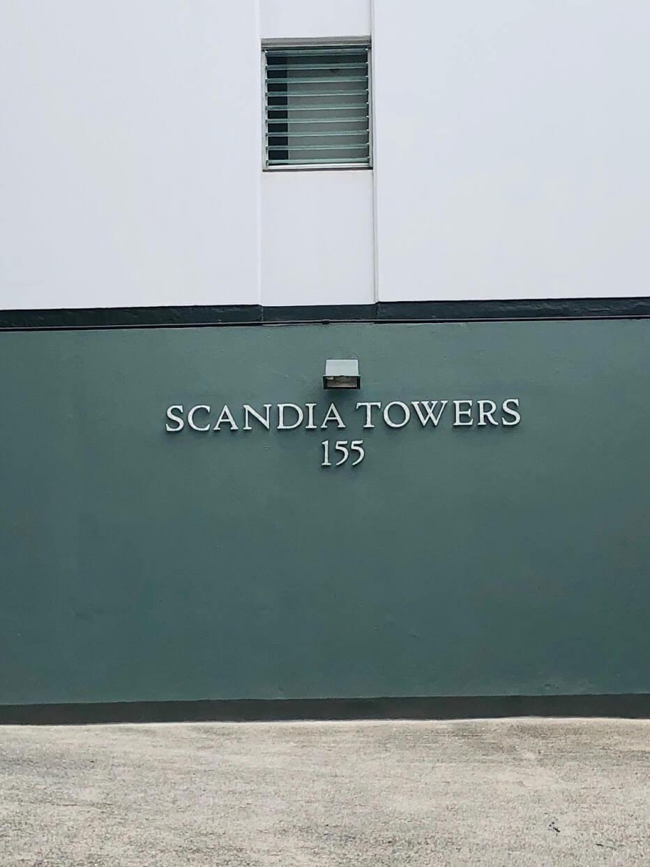 ScandiaTowersの看板