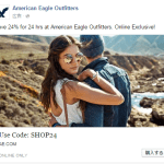 American Eagle Outfittersが24時間限定24%オフのセールやってます。
