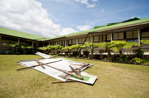 Debris on the front side of the administration building and classrooms where a twister pulled apart the roof.