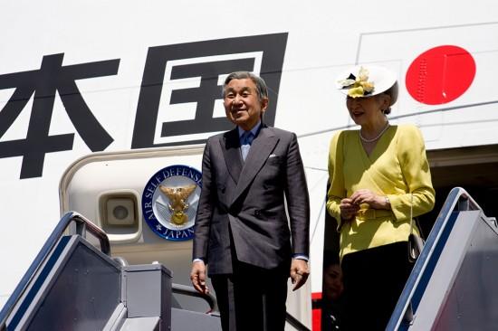 Emperor Akihito and Empress Michiko of Japan arrival at Kona International Airport Thursday morning (July 16).