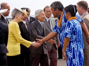 Emperor Akihito and Empress Michiko of Japan bid aloha to Mayor Billy Kenoi and his wife Takako at Kona International Airport.
