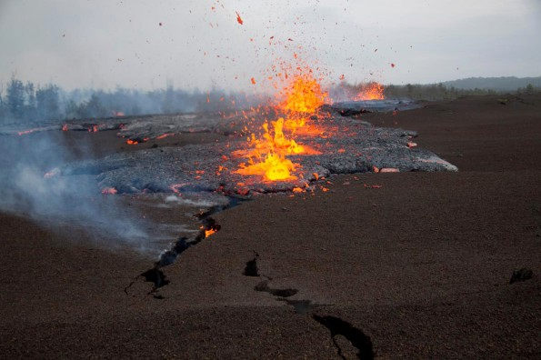 View looking at the northeast end of the actively propagating fissure. Lava is just breaking the surface in foreground crack.
