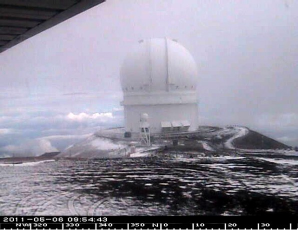 Canada-France-Hawaii Telescope at 9:54 a.m. Friday (May 6). Photo courtesy of CFHT
