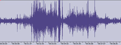 Audio waveform and MP3 audio of 4.8M earthquake recorded by Hawaii 24/7. Click on image above to listen to MP3 recording.