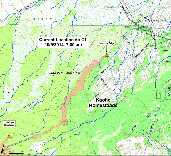 Position of the lava flow at 7 a.m. October 9, 2014. Map courtesy of Hawaii County Civil Defense.