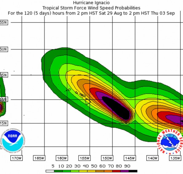 Five day forecast for tropical storm force winds from Ignacio and Jimena.