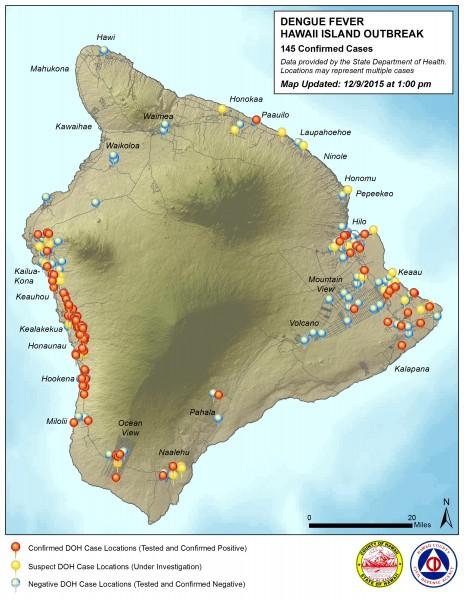 Hawaii County Civil Defense Dengue Fever map updated Wednesday, December 9, 2015.