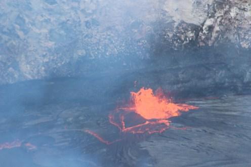 Degassing lava lake and spatter at Halemaumau NPS Photo