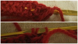 上段:2目めはその逆で、長編みの部分の前からかぎ針を入れて、毛糸をかけて、 下段:毛糸を引き出し、長編みします。