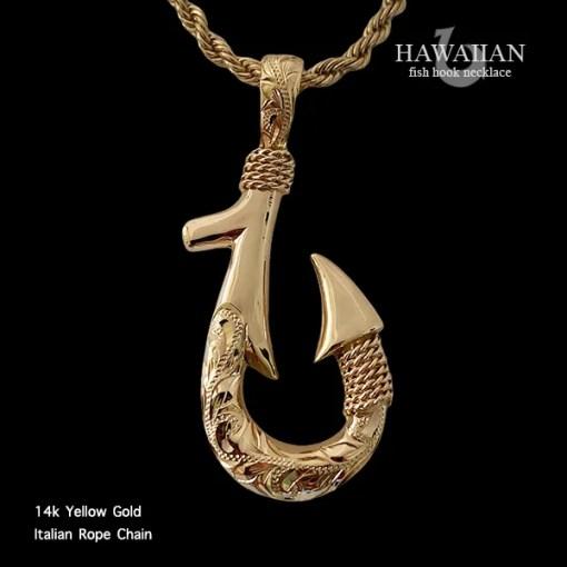 14k gold fish hook necklace
