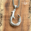 koa inlay silver fish hook pendant