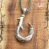 koa inlay silver fish hook pendant