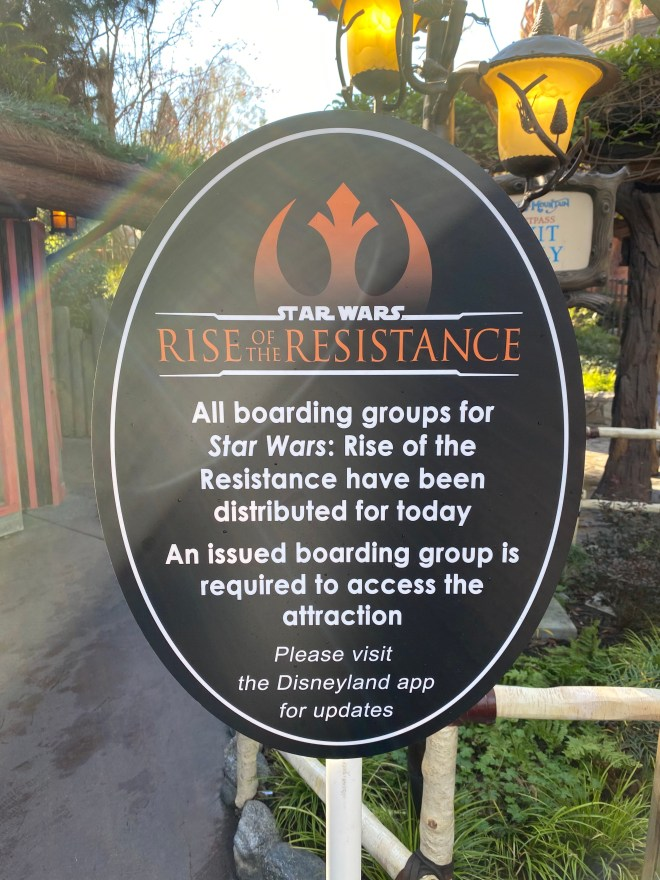 Boarding Sign for Rise of the Resistance