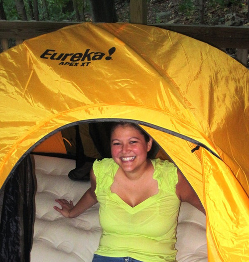 Aerobed in our Tent