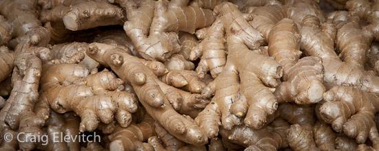 Certified organic ginger grown in Hamakua, Hawaii.