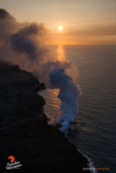 Hazy skies created a surreal scene above the Kamokuna ocean entry, as the plume blows to the north... and toward Hilo!