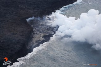 The new delta continues to increase in size as numerous fingers of lava pour into the sea. A major stress fracture has formed once again, an indication of the extreme instability of this new land.