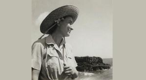 Georgia O'Keeffe on Leho'ula Beach, near Aleamai, Hāna, Maui. Harold Stein 1939, Gelatin silver print, 2 x 2⅞ in. Alfred Stieglitz/Georgia O'Keeffe Archive, Yale Collection of American Literature, Beinecke Rare Book and Manuscript Library