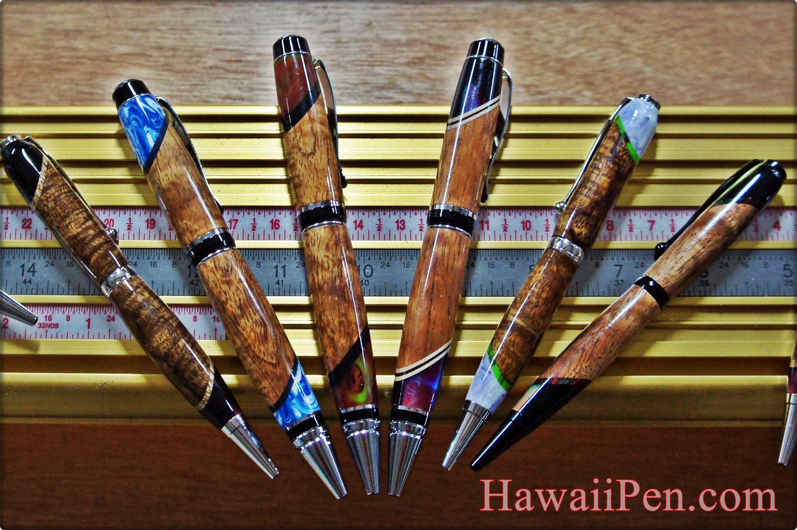 Hawaiian Koa wood pens made by Aaron Lau of Lau Lau Woodworks