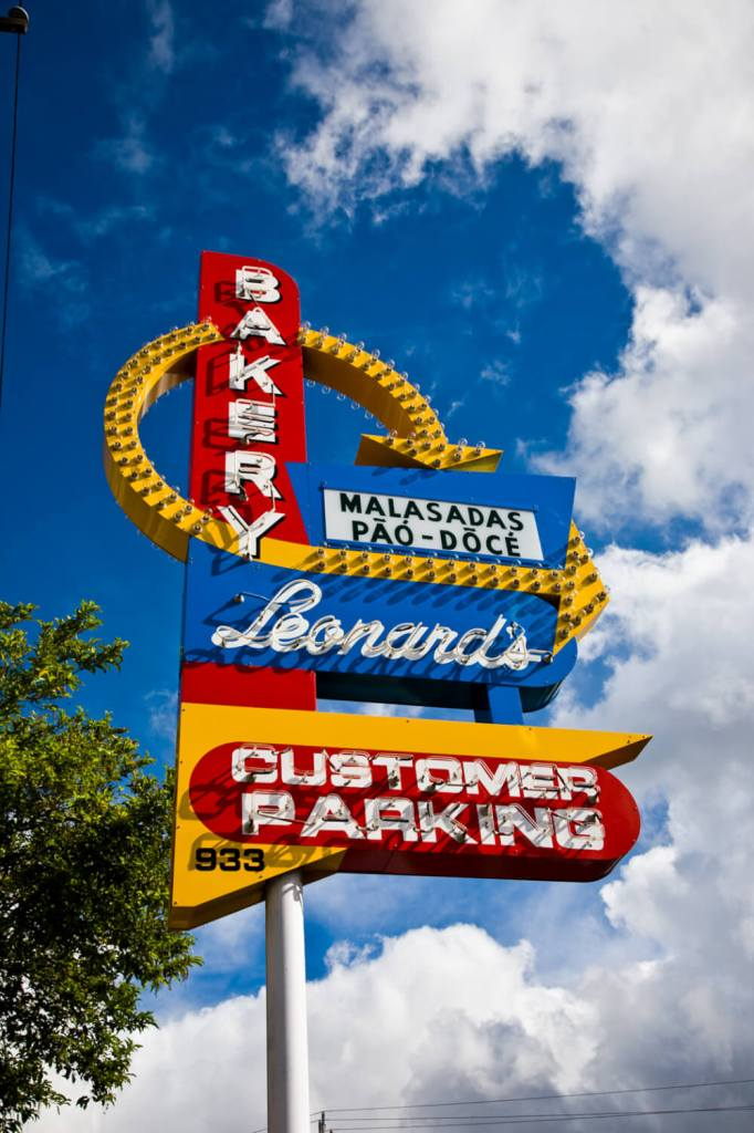 Leonard's Malasadas is one of the most popular bakeries on Oahu. Image of the Leonard's Bakery sign.