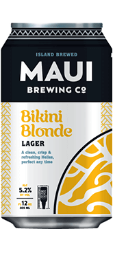 The Best Hawaiian Beer to Enjoy on Maui featured by top Hawaii blog, Hawaii Travel with Kids: Bikini Blonde Lager beer from Maui Brewing Co.