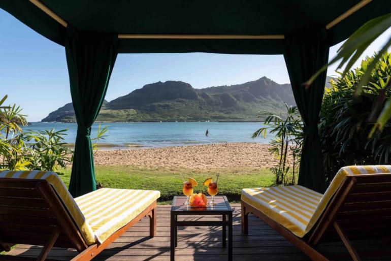 Beach cabana at Kauai Marriott Resort