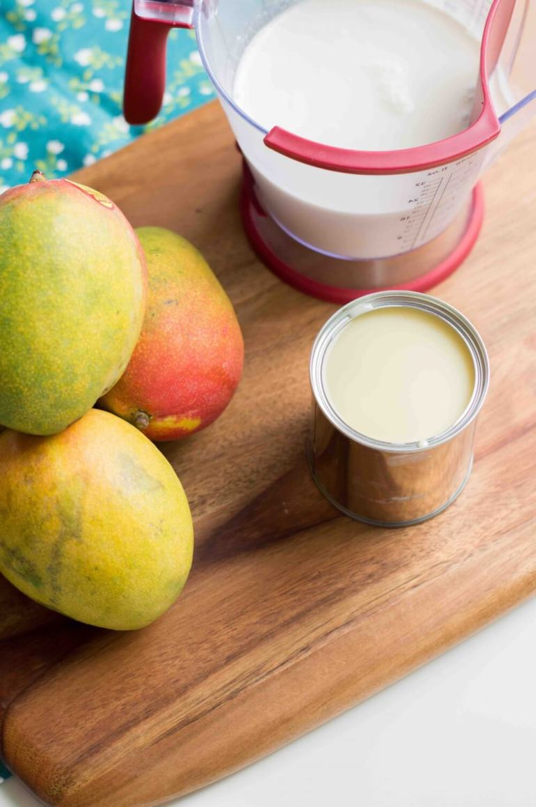 No Churn Homemade Mango Ice Cream Recipe by top Hawaii blog Hawaii Travel with Kids