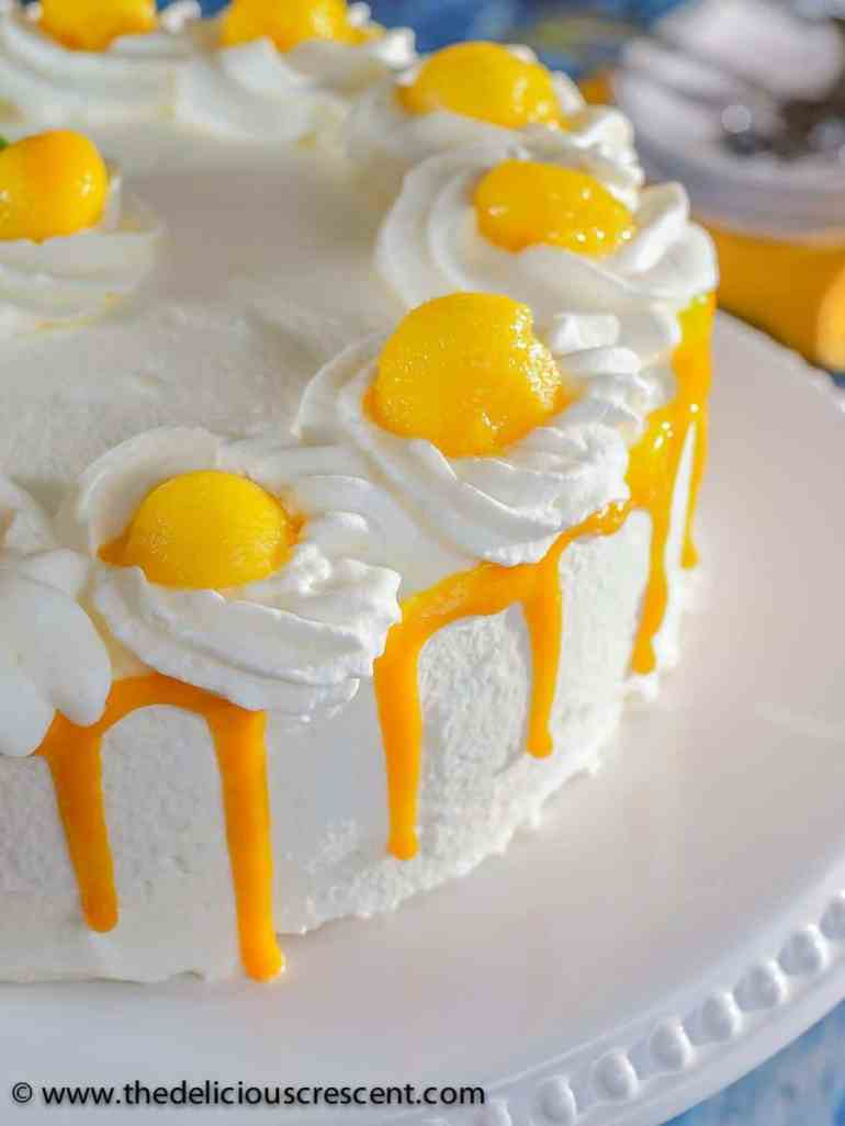 Best Mango dessert recipes by top Hawaii blog Hawaii Travel with Kids: Front view of a mango layer cake