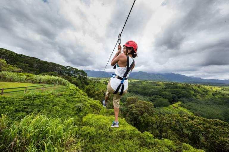 Ziplining on Kauai is a popular thing to do in Kauai
