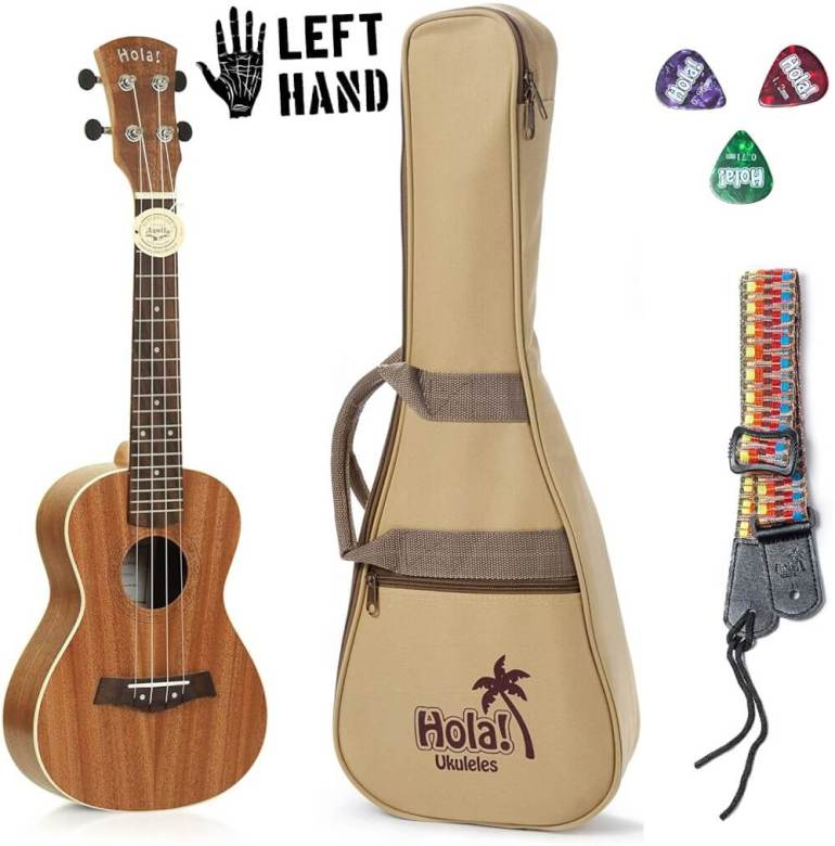 Find out the best left handed ukulele to buy in this ukulele guide by top Hawaii blog Hawaii Travel with Kids. Image of a left handed ukulule by Hola