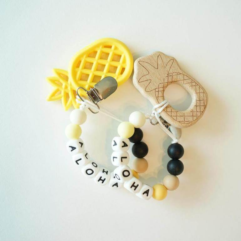 Hawaiian toys and Hawaiian gifts for kids by top Hawaii blogger Hawaii Travel with Kids: ALOHA Pineapple Teether clip for Baby Silicone Pacifier image 0