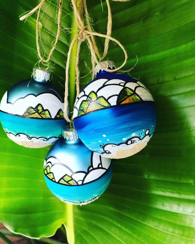 20 Hawaiian Christmas Ornaments featured by top Hawaii blogger, Hawaii Travel with Kids: Handpainted dipped in sand glass hawaii ornaments lanikai and image 0