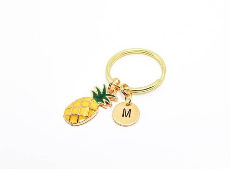 Cute Pineapple Gifts from Etsy featured by top Hawaii blog, Hawaii Travel with Kids: Dainty Pineapple Keyring Pineapple Keychain Pineapple Gift image 0