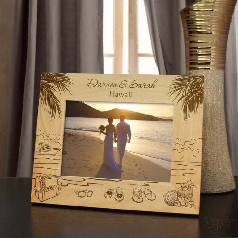 Island Retreat Inspired Personalized Picture Frame Engraved Horizontal