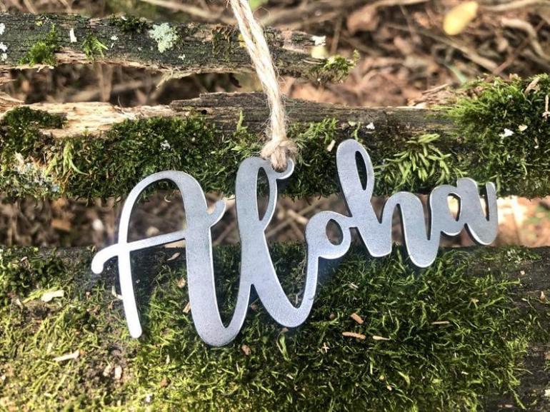 20 Hawaiian Christmas Ornaments featured by top Hawaii blogger, Hawaii Travel with Kids: Aloha Ornament I Made from Recycled Raw Steel I Hawaii I image 0