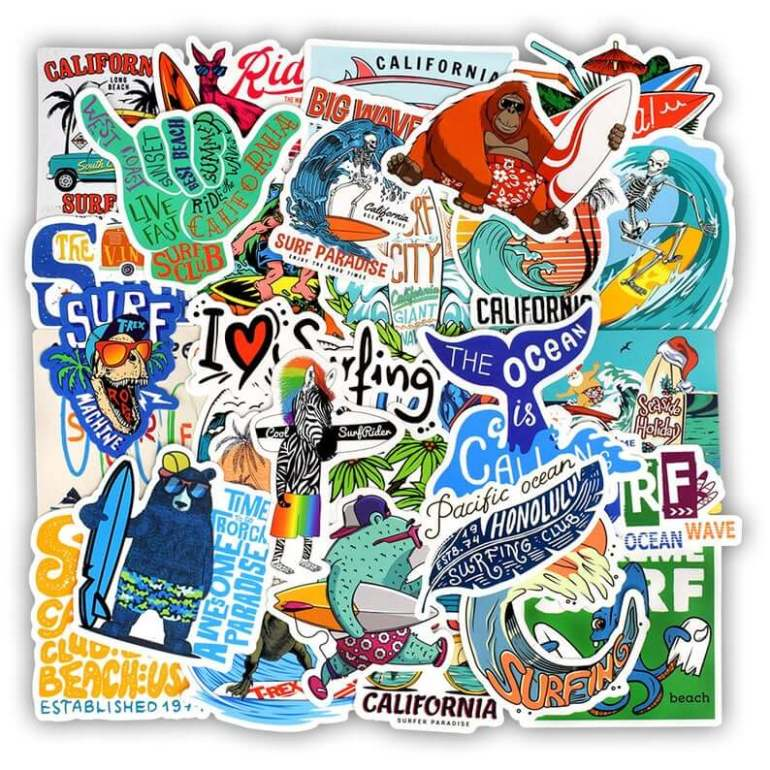 Hawaii Surfing Gifts featured by top Hawaii blog, Hawaii Travel with Kids: 50 PCS Summer Surfing Stickers Beach Travel Graffiti Surf image 0
