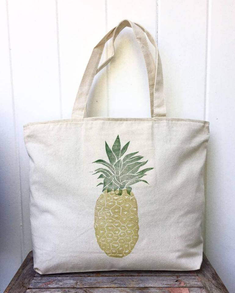 Cute Pineapple Gifts from Etsy featured by top Hawaii blog, Hawaii Travel with Kids: Large zipper tote pineapple tote overnight bag Tote bag image 0