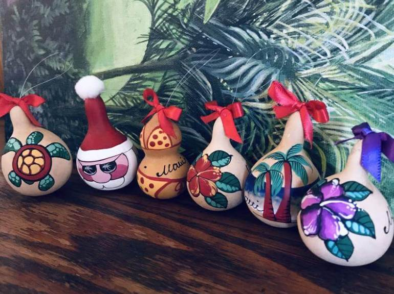 20 Hawaiian Christmas Ornaments featured by top Hawaii blogger, Hawaii Travel with Kids: Set of 3 Hand painted Hawaii Gourd ornaments image 0