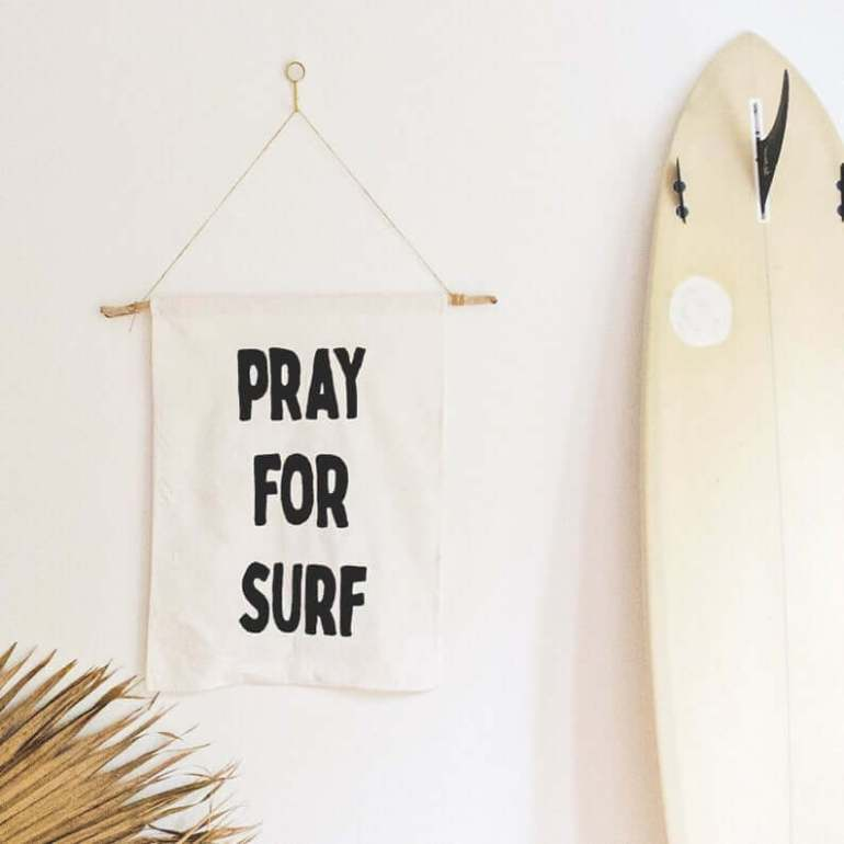 Hawaii Surfing Gifts featured by top Hawaii blog, Hawaii Travel with Kids: Pray For Surf Wall Hanging 100% Embroidered Cotton Canvas image 0