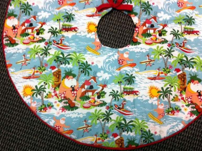 Best Hawaiian Christmas Decorations featured by top Hawaii blogger, Hawaii Travel with Kids: Add some Hawaiian Christmas decorations to your home this holiday season with these top Hawaii Christmas decorations ideas from top Hawaii blog Hawaii Travel with Kids. Image of Hawaii Christmas Tree Skirt