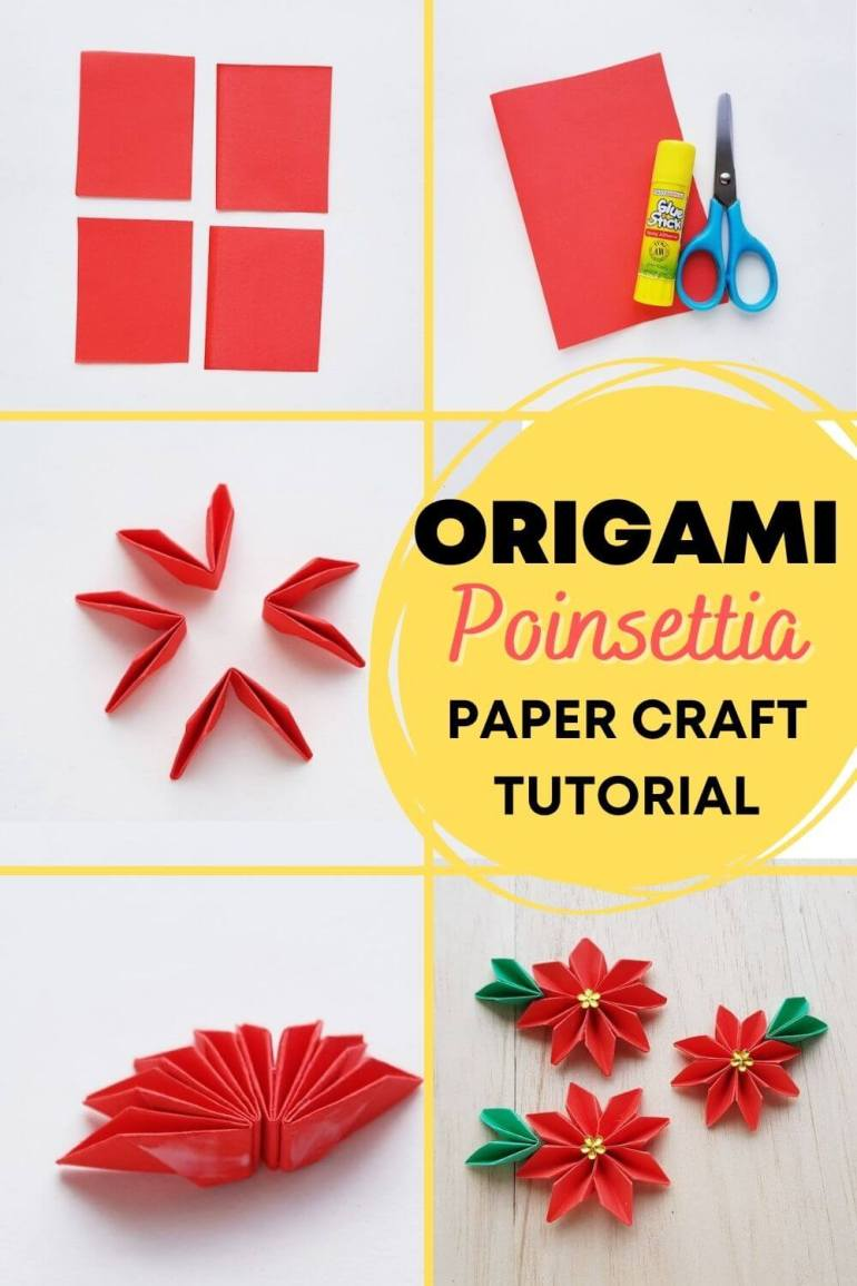 How to Make Origami Poinsettia Flowers, a Hawaiian Christmas craft tutorial featured by top Hawaii blogger, Hawaii Travel with Kids