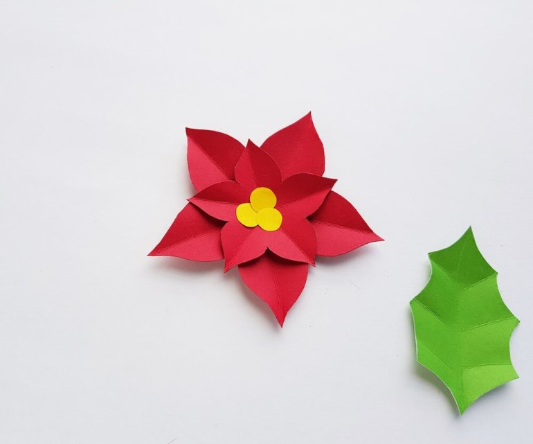 How to Make a Paper Poinsettia Craft, a tutorial featured by top Hawaii blog, Hawaii Travel with Kids: Image of a paper poinsettia glued