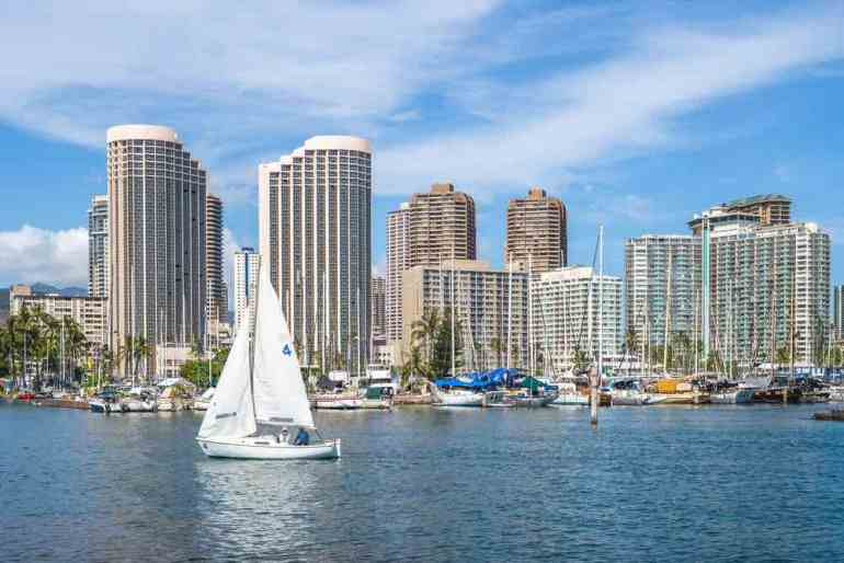 Booking a boat tour is a fun things to do in Hawaii in winter. Image of cityscape of honolulu in oahu island, hawaii, us