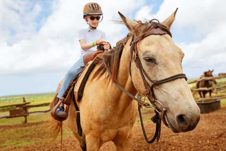 Horseback riding is one of the best activities in Oahu for kids. Image of a boy wearing a helmet on a horse.