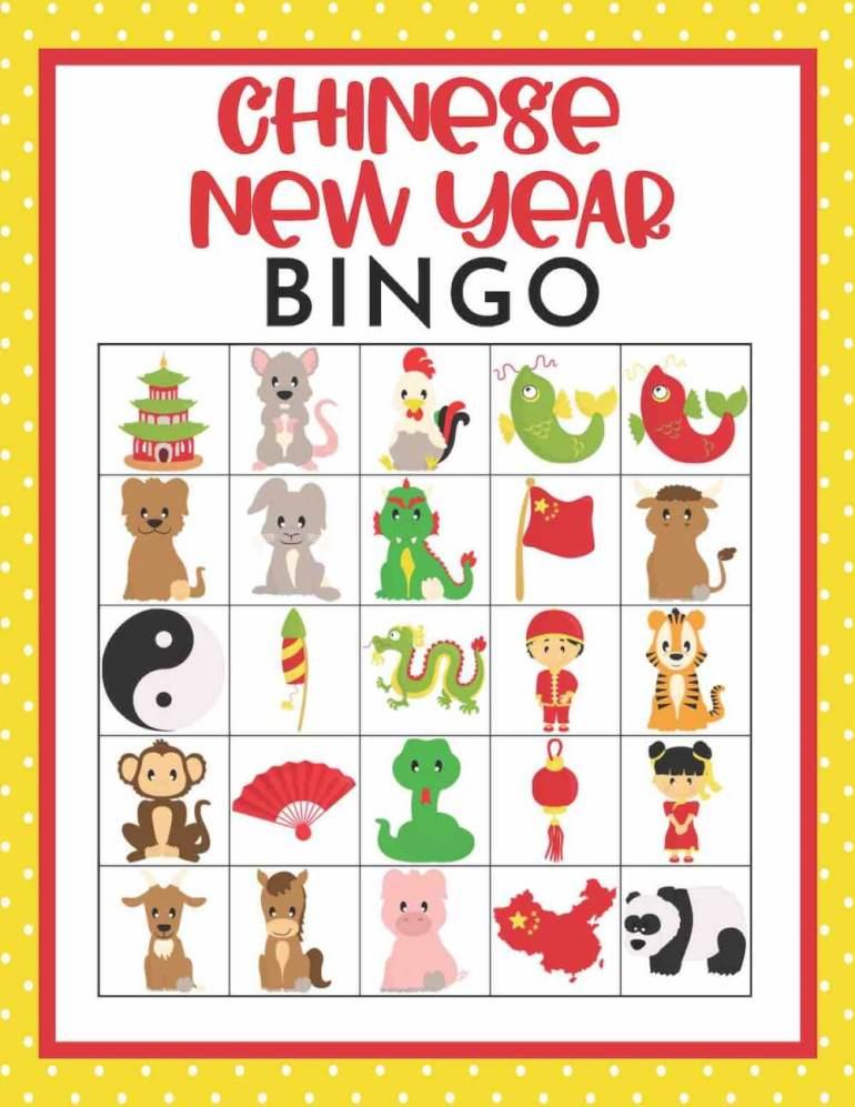Download this Chinese New Year bingo printable for kids. Image of a Chinese New Year bingo card.