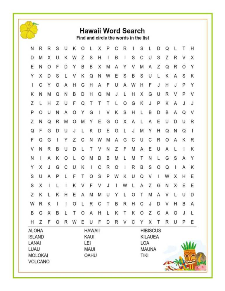 Download these free Hawaiian printable worksheets from top Hawaii blog Hawaii Travel with Kids. Image of a Hawaii word search.
