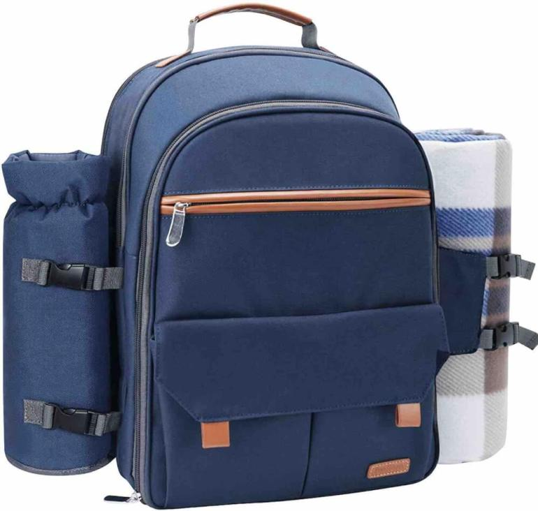 This reusable travel picnic backpack is perfect for Hawaii. Image of a blue backpack.