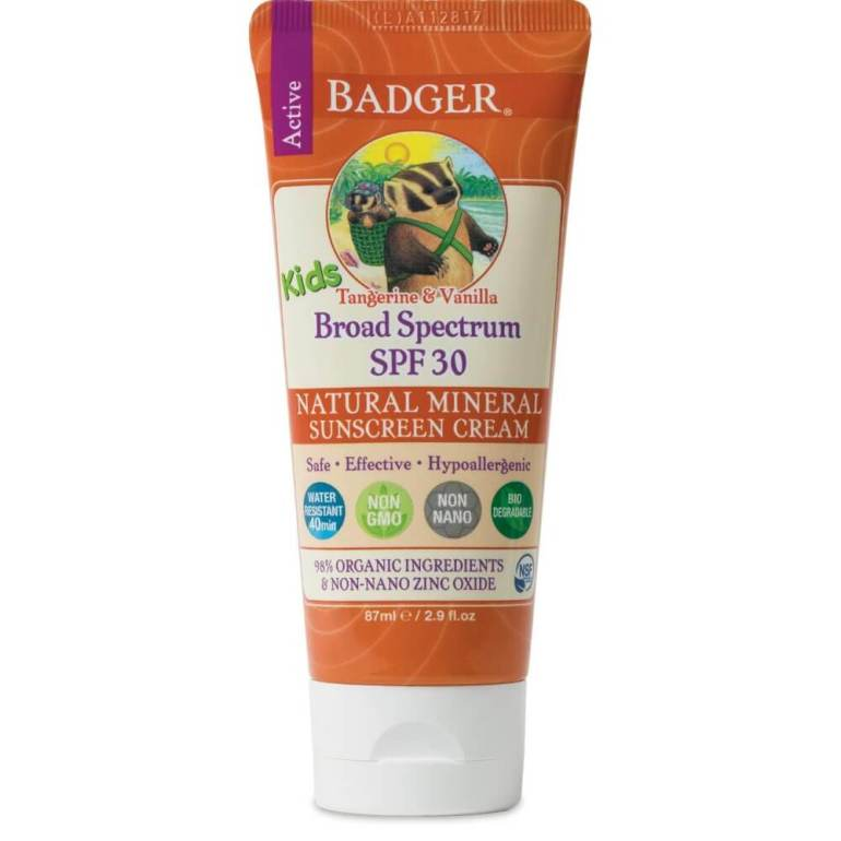Badger sunscreen is one of the best sunscreen for Hawaii with kids. It's reef safe and mineral based. Image of a tube of Badger Sunscreen.